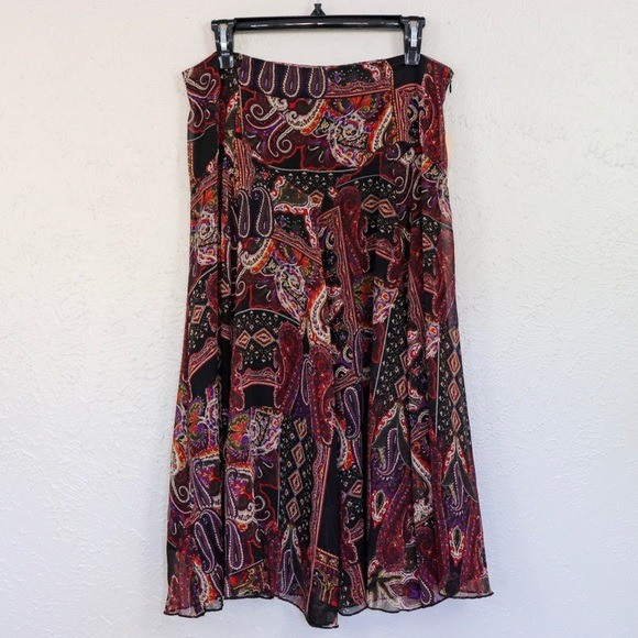 Coldwater Creek | Mixed Paisley Print Skirt